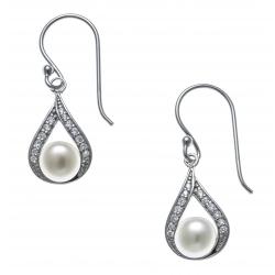 Boucles d'oreille argent rhodié 2,5g - perle de culture véritable - zircons