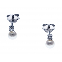 Boucles d'oreille argent rhodié 0,5g - perles de culture véritable - zircons - 2