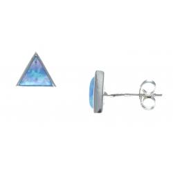 Boucles d'oreille argent rhodié 0,9g - opale bleu synthéthique