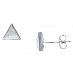 Boucles d'oreille argent rhodié 0,9g - opale blanc synthéthique