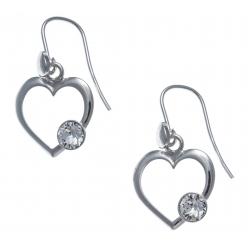 Boucles d'oreille argent rhodié 2,5g - cœur - cristal de swarovski