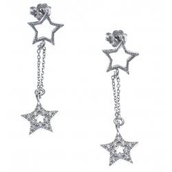 Boucles d'oreille argent rhodié 2,8g - 2 étoiles - 2 chaines - zircons - hauteur