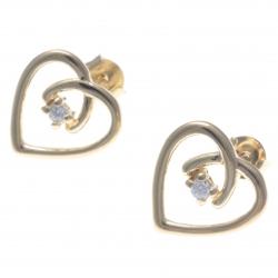 Boucles d'oreille plaqué or - cœur - zircon