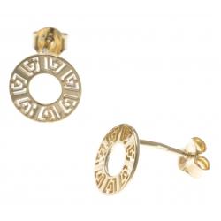 Boucles d'oreille plaqué or - cercle 1cm - motif indien