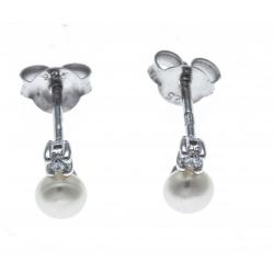 Boucles d'oreille argent rhodié 0,5 - zircon - perle de culture véritable