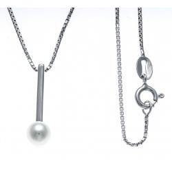 Collier argent rhodié 3g - perle de culture véritable - 40cm