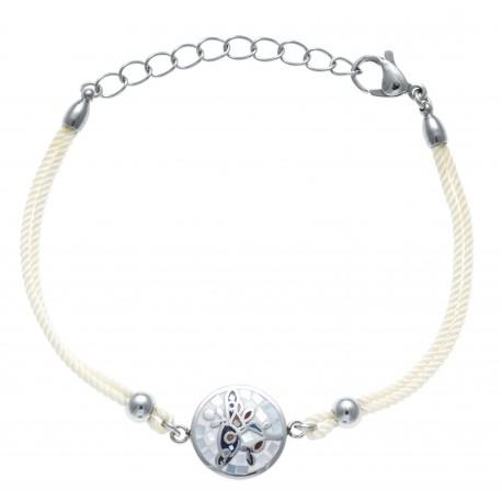 Bracelet acier - nacre - émail - coton gris - oiseau - 17+3cm