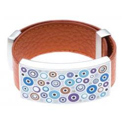 Bracelet acier - émail - nacre - cuir orange - largeur 3cm - longueur 23,5cm