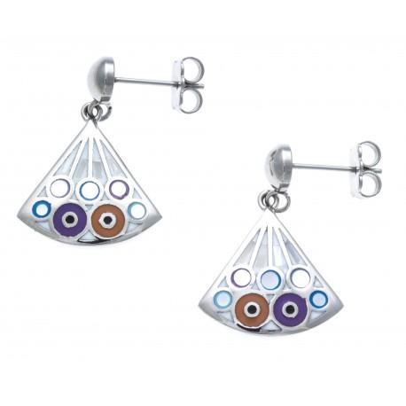 Boucles d'oreille acier - nacre - émail - ronds