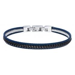 Bracelet acier 3 tons - 2 câbles acier bleu - chaine acier noir - 19,5+1,5cm - réglable