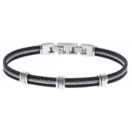 Bracelet acier - 3 cables acier noir/blanc/noir - 19,5+1,5cm - réglable