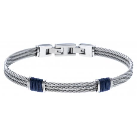Bracelet acier - 3 cables acier - corde nautique bleu - 19,5+1,5cm - réglable