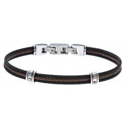 Bracelet acier - 3 cables acier noir/marron/noir - 19,5+1,5cm - réglable