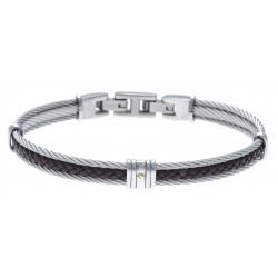 Bracelet acier - 2 câbles acier - cuir italien tressé marron - vis or jaune 18KT 0,03g - 19,5+1,5cm - réglable