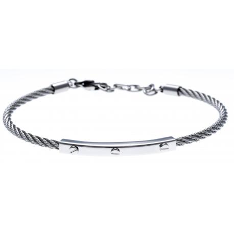 Bracelet acier - câble acier  - 19,5+1,5cm - réglable