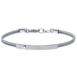 Bracelet acier - 2 câbles acier  - 19,5+1,5cm - réglable