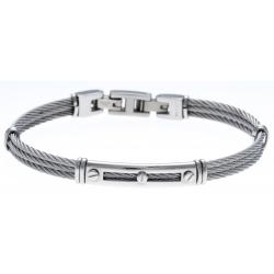 Bracelet acier - 3 cables acier  - 19,5+1,5cm - réglable