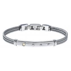 Bracelet acier - 3 câbles acier - or jaune 18KT 0,02g - 19,5+1,5cm - réglable