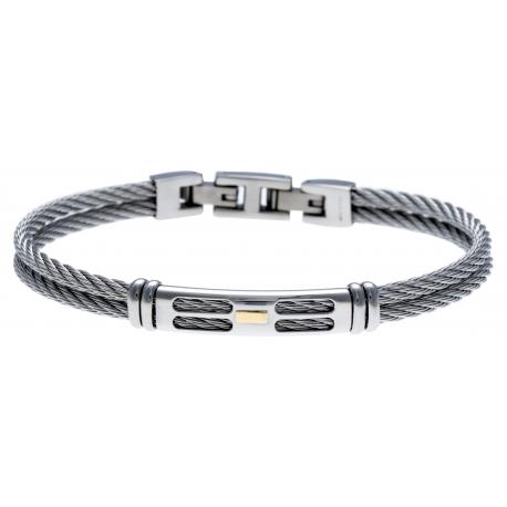 Bracelet acier - 2 câbles acier - or jaune 18KT 0,03g - 19,5+1,5cm - réglable