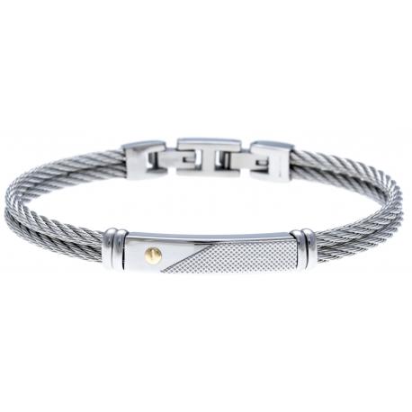 Bracelet acier - 2 câbles acier - vis or jaune 18KT 0,02g - 19,5+1,5cm - réglable
