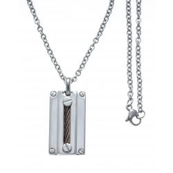 Collier acier - câble acier marron - 45+5cm
