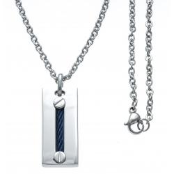 Collier acier - câble acier bleu - 45+5cm