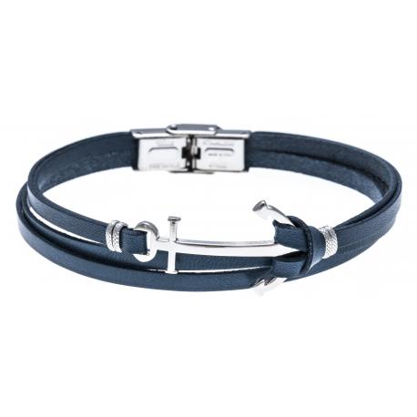 Bracelet acier - cuir italien bleu - ancre acier - 3 rangs - 21,5cm - réglable