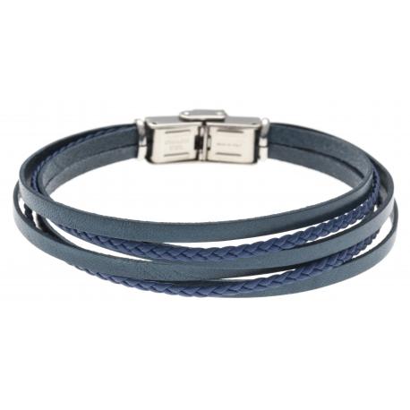 Bracelet acier - cuir et cuir tressé bleu italien - 6 rangs - 21,5cm - réglable
