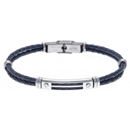 Bracelet acier - cuir tressé bleu italien - 2 rangs - 21,5cm - réglable