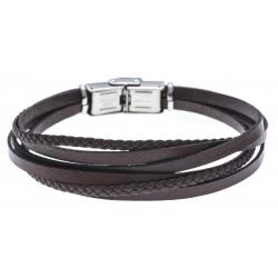 Bracelet acier - cuir et cuir tressé bleu marron - 6 rangs - 21,5cm - réglable