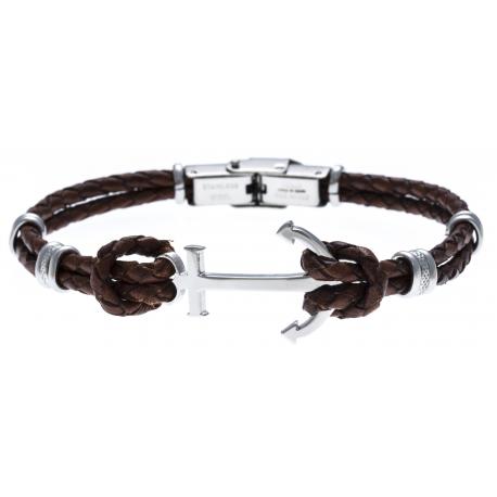 Bracelet acier pour homme - cuir tressé italien marron - 2 rangs - ancre - 21,5cm - réglable