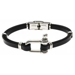 Bracelet acier - cuir italien noir - manille - 21,5cm - réglable
