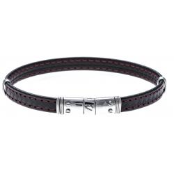 Bracelet acier - cuir synthétique - surpiqure rouge - 21,5cm