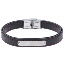 Bracelet acier - cuir synthétique - surpiqure rouge - 21,5cm - réglable
