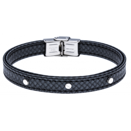Bracelet acier - cuir synthétique - surpiqure noire - 21,5cm - réglable