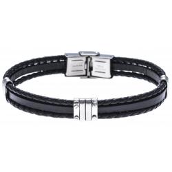 Bracelet acier  - cuir italien noir - 21,5cm - réglable