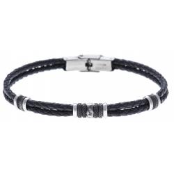 Bracelet acier 2 tons  - cuir italien noir - 21,5cm - réglable