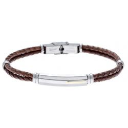 Bracelet acier - cuir tressé italien marron - or jaune 18KT 0,04g -  21,5cm - réglable