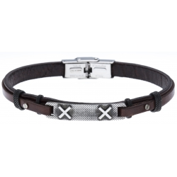 Bracelet acier - cuir italien marron - croix -  21,5cm - réglable