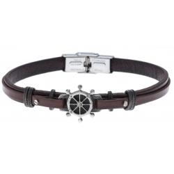Bracelet acier - cuir italien marron - roue -  21,5cm - réglable
