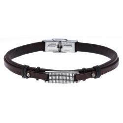 Bracelet acier - cuir italien marron  - plaque - 21,5cm - réglable