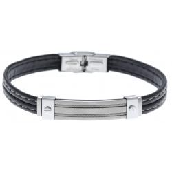 Bracelet acier - cuir synthétique - surpiqure blanche - deux câbles acier - 21,5cm - réglable