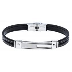 Bracelet acier - cuir synthétique - surpiqure blanche - 21,5cm - réglable