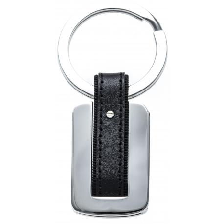 Porte clé - acier - cuir noir - 7cm