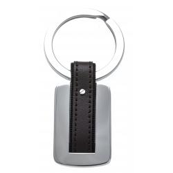 Porte clé - acier - cuir marron - 7cm