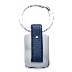 Porte clé - acier - cuir bleu - 7cm