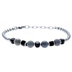 Bracelet acier 2 tons - verre de murano - 19+4cm