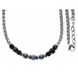 Collier acier - verre de murano - 50+5cm