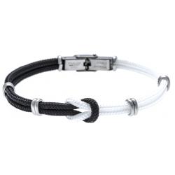 Bracelet acier nœud marin - corde nautique - bland et noir - 21,5cm - réglable