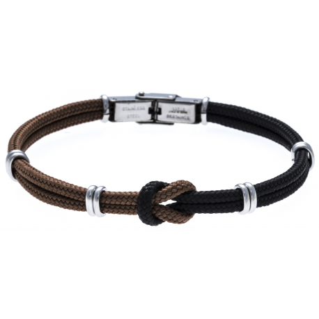 Bracelet acier nœud marin - corde nautique - marron et noir - 21,5cm - réglable